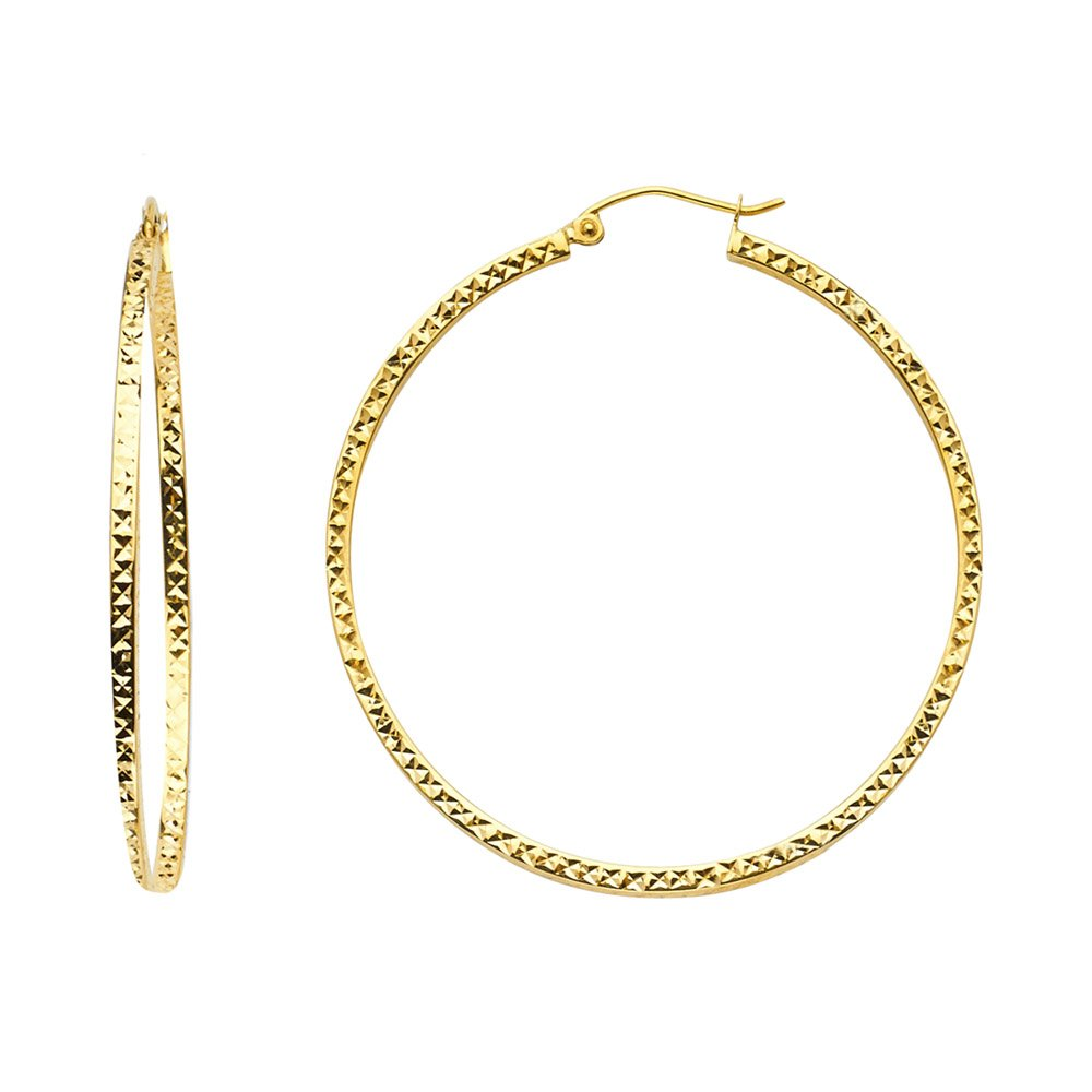 14K Yellow Gold Full Diamond Cut Hollow Square Tube Hoop Hinged Earrings Ioka