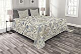 Eastern King Size Bedspreads Ambesonne Ivory Bedspread Set King Size, Oriental Scroll with Swirling Leaves with Eastern Design Inspirations, Decorative Quilted 3 Piece Coverlet Set with 2 Pillow Shams, Beige Tan Slate Blue