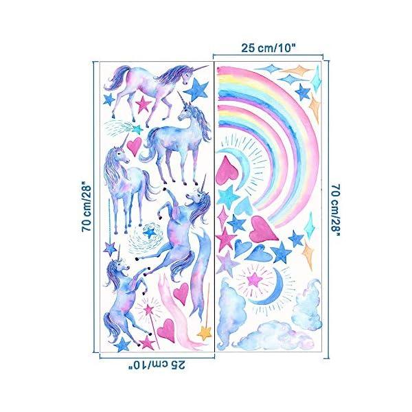 HAOLEJIA Beautiful Kids' Bedroom Unicorn Wall Sticker Decal,3D Art Decal Sticker for Child Room Wall Decoration 10