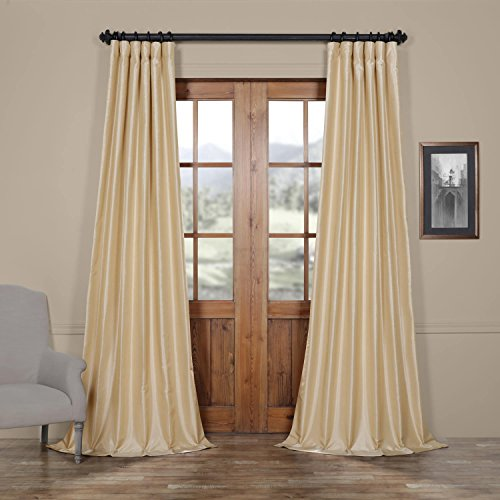 Half Price Drapes PDCH-KBS20-96 Vintage Textured Faux Dupioni Silk Curtain, 50 x 96, Butternut (Dupioni Curtains)