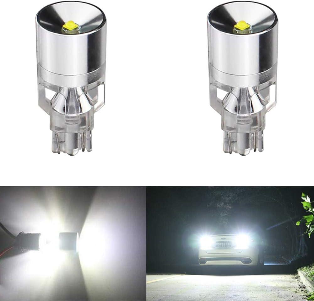 2-Pack 921 912 W16W T15 Extremely Bright 1300 lumens 12V Non-Polarity CREE Chipsets 4SMD LED Bulbs For Backup Reverse Light Third Brake Bulb,Xenon White 6000K
