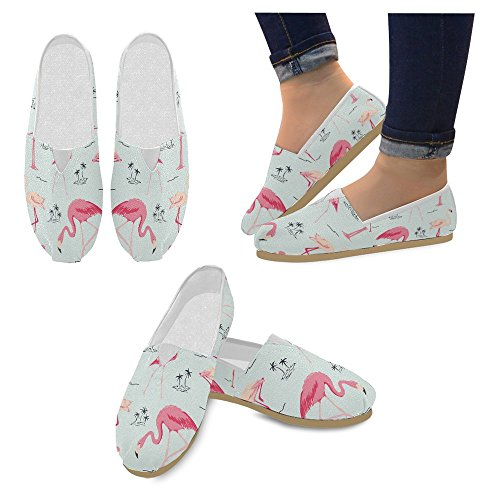 Mocassini Da Donna Di Interestprint Classico Su Tela Casual Slip On Scarpe Moda Sneakers Mary Jane Flat Flamingo Bird