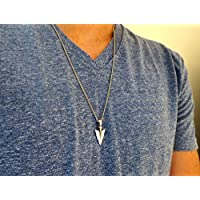 Handmade Long Silver Plated Spear Pendant Necklace For Men By Galis Jewelry - Silver Necklace For Men - Jewelry For Men
