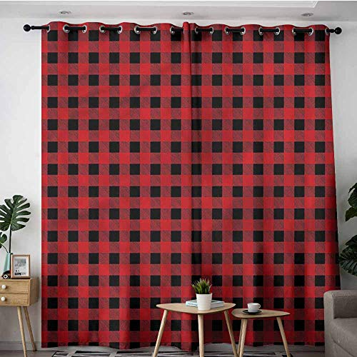 XXANS Blackout Curtains,Red and Black,Chess Board Squares,Grommet Curtains for Bedroom,W72x84L ()