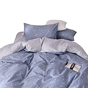 VM VOUGEMARKET 3 Piece Duvet Cover Sets Queen,100% Cotton Constellation Pattern Design Duvet Cover with 2 Pillowcases,Reversible Stripes Printed Bedding Set(Queen,Constellation)