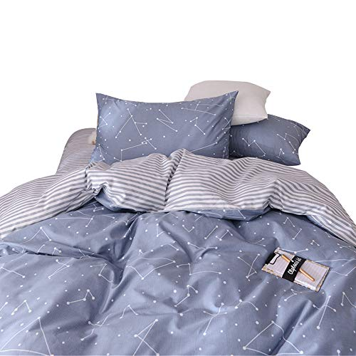 VM VOUGEMARKET 3 Piece Duvet Cover Sets Queen,100% Cotton Constellation Pattern Design Duvet Cover with 2 Pillowcases,Reversible Stripes Printed Bedding (Star Pattern Cotton)