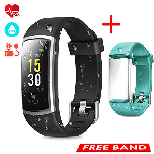 CHEREEKI Fitness Tracker, Heart Rate Monitor Activity Tracker with Blood Pressure Sleep Monitor 14 Sports Tracking, Color Screen IP68 Waterproof, Fitness Watch Step Calorie Counter (Black and Green)