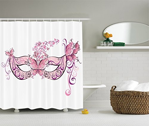 Ambesonne Masquerade Decorations Collection, Butterfly Masks for a Masquerade Italian Fantasy Floral Design Artwork, Polyester Fabric Bathroom Shower Curtain Set with Hooks, Pink Purple
