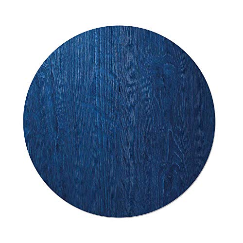 Polyester Round Tablecloth,Navy Blue Decor,Photo of Oak Wood Texture Nature Style Vintage Decorative Artprint Home,Royal Blue,Dining Room Kitchen Picnic Table Cloth Cover,for Outdoor Indoor