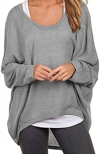 Uget Women's Casual Oversized Baggy Off-Shoulder Shirts Batwing Sleeve Pullover Tops (US 18-20 /Asia XXL, Gray)