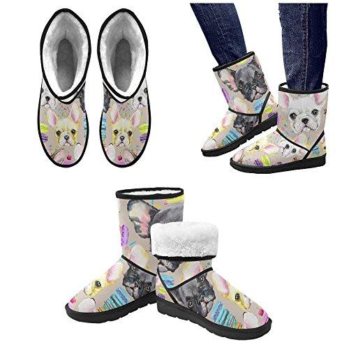 D-story Mode Femmes Chaussures Crâne Fleur Haut Haut Femmes Bottes De Neige Color5