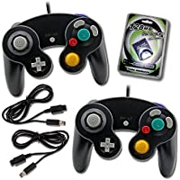 2 Black Game Cube Controllers with 2 Extension Cables and...