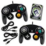 2 Black GameCube Wii Wired Joypad Controllers with Extension Memory Card Bundle