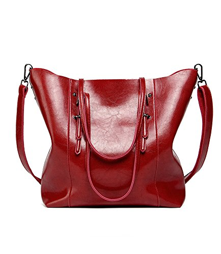 - 2018 Hot Luxury Brand Women Shoulder Bags Big Bucket Bag Soft Pu Leather Female Casual Tote Wild Messenger Bag Casual Ladies Handbag (Color Burgundy)