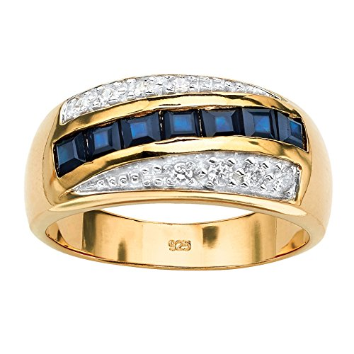 Blue Ring Zirconia Cubic Sapphire (Men's 18K Yellow Gold over Sterling Silver Square Cut Genuine Blue Sapphire and Cubic Zirconia Ring Size 11)