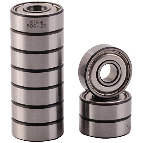 XiKe 10 Pack 606ZZ Precision Bearings 6x17x6mm, Rotate Quiet High Speed and Durable, Double Shield and Pre-Lubricated, Deep Groove Ball Bearings. by XiKe