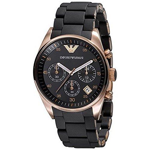 Emporio Armani Women's 'Fashion' Quartz Gold-Tone and Rubber Casual Watch, Color:Black (Model: AR5906)