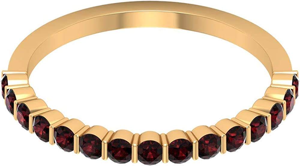 Anillo de media eternidad de 3/4 ct certificado granate, clásico anillo de dama de honor, único anillo de oro con piedras preciosas, 10K Oro