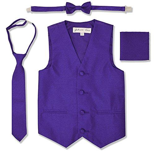 JL34 Boys Formal Tuxedo Vest Set (14, Purple) -