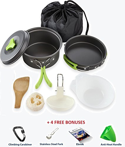 #1 CAMPING COOKWARE MESS KIT   Best cooking set + 4 Free Bonuses   Most complete camp nonstick pots and pans set   Perfect hiking & backpacking green outdoors survival cook set