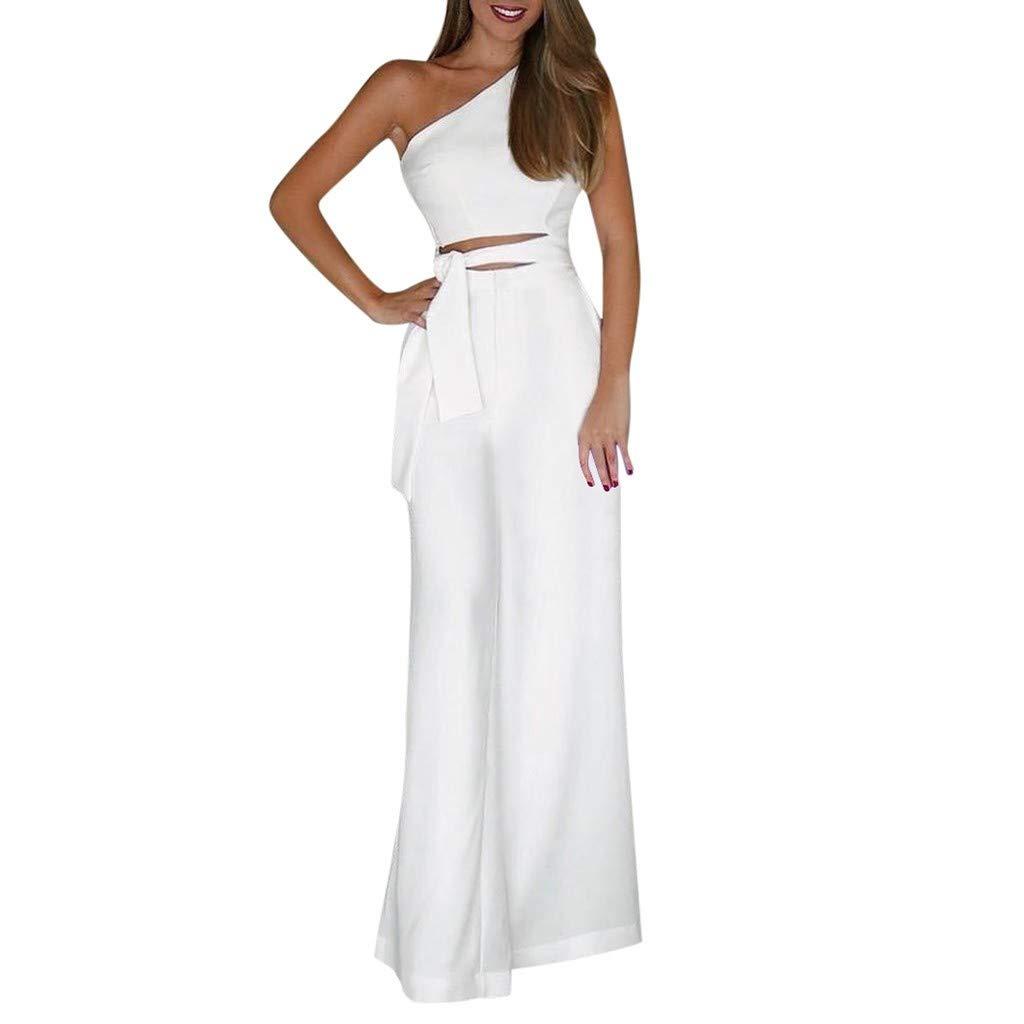 Women Summer Solid Sleeveless Strapless Bandage Jumpsuit Long Wide Leg Trousers White