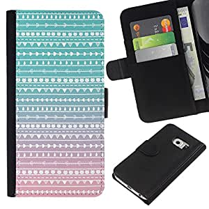 KingStore / Leather Etui en cuir / Samsung Galaxy S6 EDGE / Nativo del trullo Rosa Folk Sutil