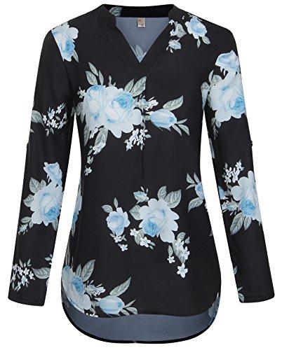 Chemisier bleu de Fluide Imprim Tops Asymtrique en Longues Fleur Haut Soie ELFIN Blouse V Col lgante Noir Manches Mousseline Femme 75HwwqI