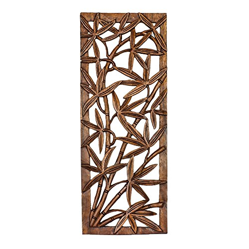 Balinese Traditional Bamboo tree Carved Wood Panel Bali Wall Art Architecturalor