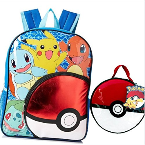 Pokemon Pokeball Backpack Set with Lunch Box & Pencil Case CarryOn Travel Bag Pikachu, Squirtle, Bulbasaur, and Charmander Lunch Kit (Dish Tag Divided)