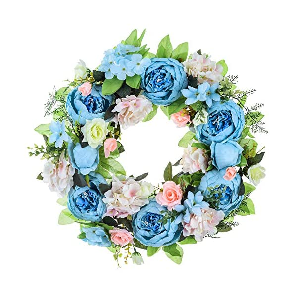 15″ Peony Hydrangea Wreath,Artificial Peony Flower Wreath Door Wreath with Green Leaves Spring Wreath for Front Door,Wedding,Wall, Home Decor