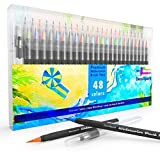 Watercolor Brush Pens Set | 48 Colors | Best Real Soft Brush Markers for Adult and Kids Coloring Books, Drawing, Calligraphy, Paint and More | Ultra Bright Pigment, Non-Toxic, Acid-Free | DecoSpark