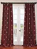HPD HALF PRICE DRAPES Half Price Drapes EFSCH-14086A-108 Embroidered Faux Silk Taffeta Curtain, Trophy Syrah For Sale
