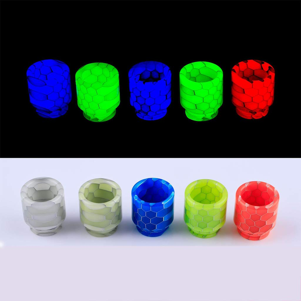 XXguang 1Pc Resin Quick Fitting 810 Snakeskin Drip Tip Connector Honeycomb Luminous Atomizer Wide Bore TFV12//8 Mouthpiece Nozzle Blue