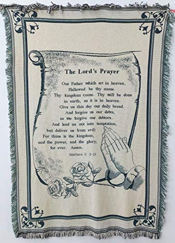 (Pure Country Weavers | Lords Prayer Woven Throw Blanket with Fringe USA Made Size 70x50)