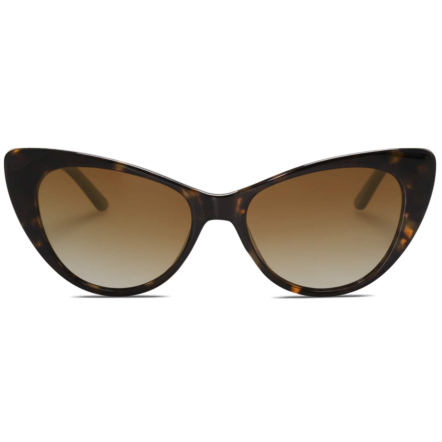 SOJOS Retro Cateye Sunglasses for Women Vintage Clout Goggles Plastic Frame SJ2079 with Brown Tortoise Frame/Gradient Brown Lens by SOJOS