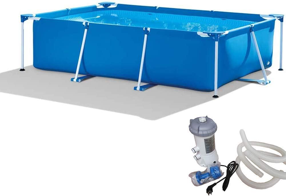 QQLK Frame Pool Piscina Desmontable Tubular 260 X 160 X 65 Cm, Piscina Sobresuelo(2282L), Malla Compuesta De 3 Capas, Montaje RáPido, Piscina para NiñOs Y Adultos - Azul