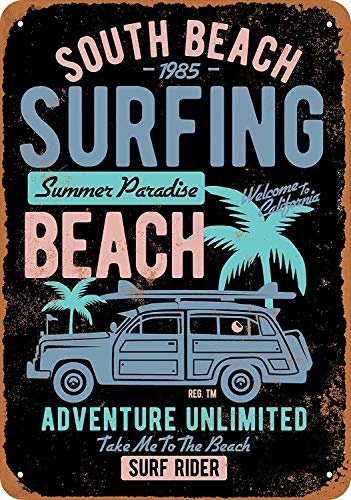 QDTrade Vintage Look Tin Metal Sign 8 x 12inch - South Beach Surfing - Sign Tin Woody