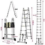 ZhanGe A-Frame Telescopic Ladders 16.5Ft/5M