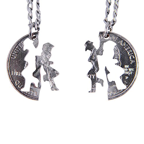 Marycrafts Set Hand Cut Coin MJ Michael Jackson Necklace Interlocking Necklace Jewelry Relationship BFF 18