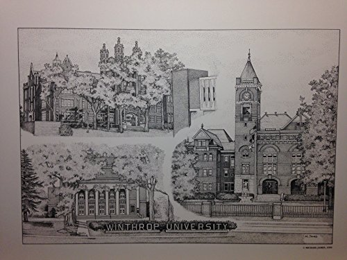 Winthrop University 12''x16'' pen and ink collage print by Campus Scenes