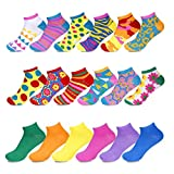 crazy color socks - Women's Low Cut No-Show Ankle Socks, Pack of 18 Pairs, Fun Solid Colors, Festive Patterns, Animal Prints, and More, Sock Size 9–11, Shoe Size 4–10.5 by Sockletics