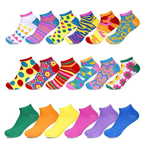 Women's Low Cut No-Show Ankle Socks, Pack of 18 Pairs, Fun Solid Colors, Festive Patterns, Animal Prints, and More, Sock Size 9–11, Shoe Size 4–10.5 by Sockletics ()