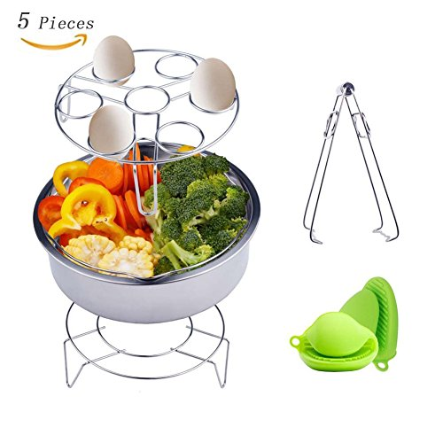 Instant Pot Accessories Steamer Basket, Egg Steamer Steamer Rack with Steaming Stand, Mini Finger Cover and 1 Pair Silicone Cooking Pot Mitts Fits Instant Pot 5,6,8 qt Pressure Cooker, 5 Pcs Set