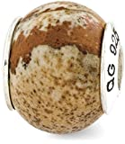 IceCarats 925 Sterling Silver Charm For Bracelet Picture Jasper Natural Stone Bead From The Earth