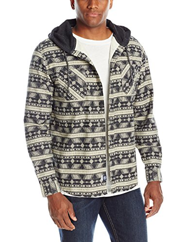 UNIONBAY Men's Classic Flannel Hoodie, Natural, Small