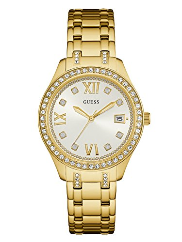 GUESS Women's U0848L2 Sporty Gold-Tone Watch with White Dial , Crystal-Accented Bezel and Stainless Steel Pilot Buckle (Gold Tone White Dial Watch)