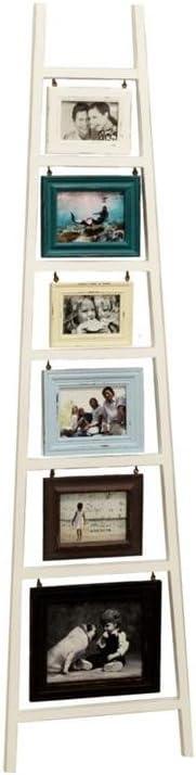 Vachetti Portafotos pared madera blanco en forma de escalera múltiple, para 6 fotos; 46,7 x 2,5 x 179 cm.: Amazon.es: Hogar