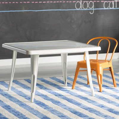 Peyton Kids Square Table Crafted From Galvanized Steel With A White Powder Coated Finish For Indoor/Outdoor Play Area