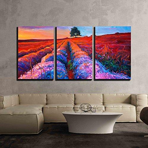 Original oil painting of lavender fields Rich golden Sunset landscape x3 Panels