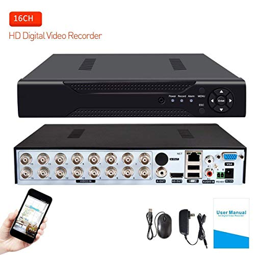 (16 Channels DVR Recorder Hybrid DVR H.264 CCTV Security Camera System Digital Video Recorder(No Hard Drive Included))